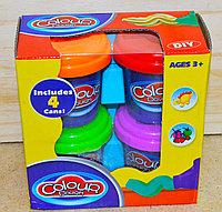 Упаковка помята!!! 9201 Пластелин 4 баночки Colour dough 13*13см повтор, фото 1