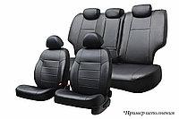 Чехлы автомобильные Ravon R4 2013+ Экокожа черная/Жаккард темно-серый