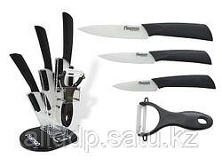 2652 FISSMAN Набор ножей 5 пр. ADRIA premium c овощечисткой на акриловой подставке (белые керамические лезвия)