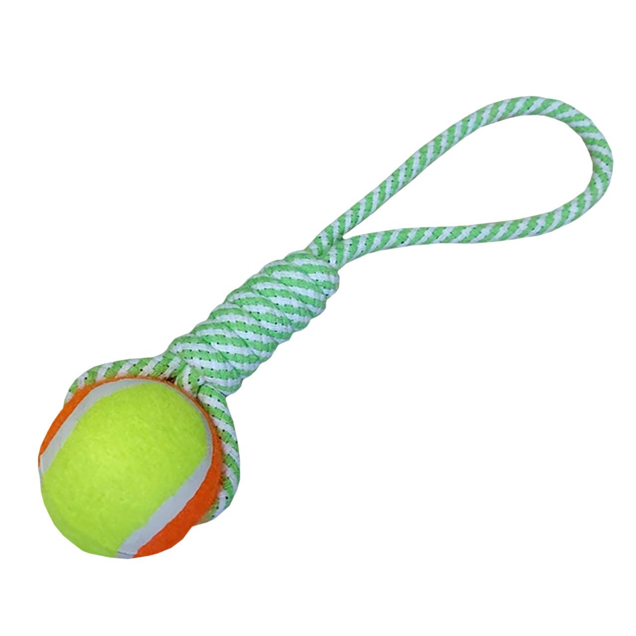 Игрушка канатная плетеная с мячом для собак