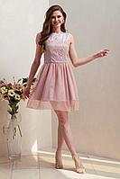 Женское осеннее розовое нарядное платье Condra 4311 44р.