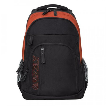 Рюкзак молодёжный с эргономичной спинкой Grizzly, 47 х 32 х 17, для мальчиков, чёрный/терракотовый