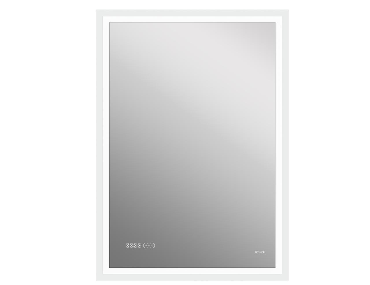 Зеркало LED 080 design pro 60x85 с подсветкой часы с антизапотеванием прямоугольное - фото 1