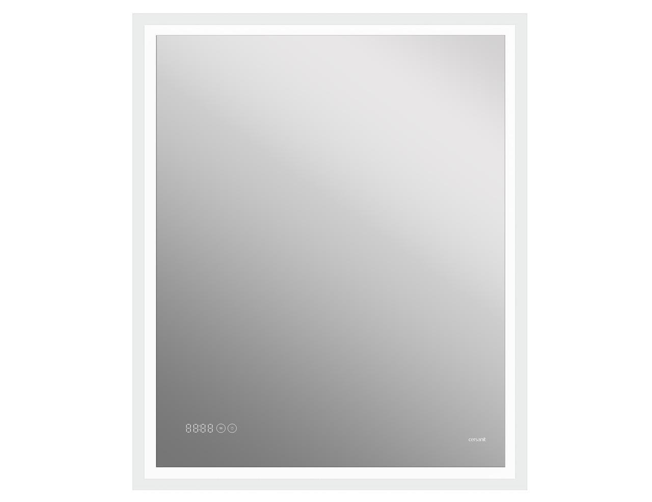 Зеркало LED 080 design pro 70x85 с подсветкой часы с антизапотеванием прямоугольное - фото 1