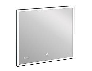 Зеркало LED 011 design 80x70 с подсветкой часы металл. рамка прямоугольное