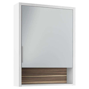 Шкаф зеркальный Белль 60, белый с макассар
