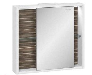 Шкаф зеркальный Белль 80, белый с макассар