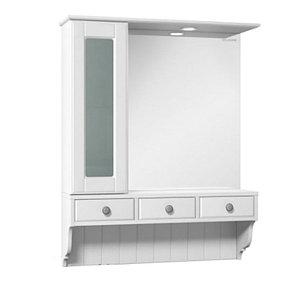 Шкаф зеркальный Дижон 80, белый