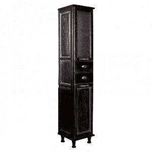 Шкаф - колонна, ЖЕРОНА, левый, черное серебро