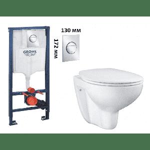 Набор 3 в 1 Grohe Унитаз Bau Ceramic подвесной и сид. с микролиф Rapid SL с панелью смыва