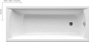 Ванна акриловая прямоугольная CLASSIC 150x70 N белая