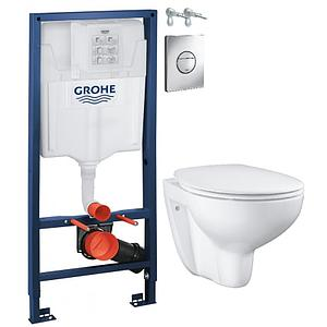 Инсталляция Grohe Solido Набор 4 в1: станд. инстал., подв. ободк. унитаз Bau Ceramic, сиденье, кнопк