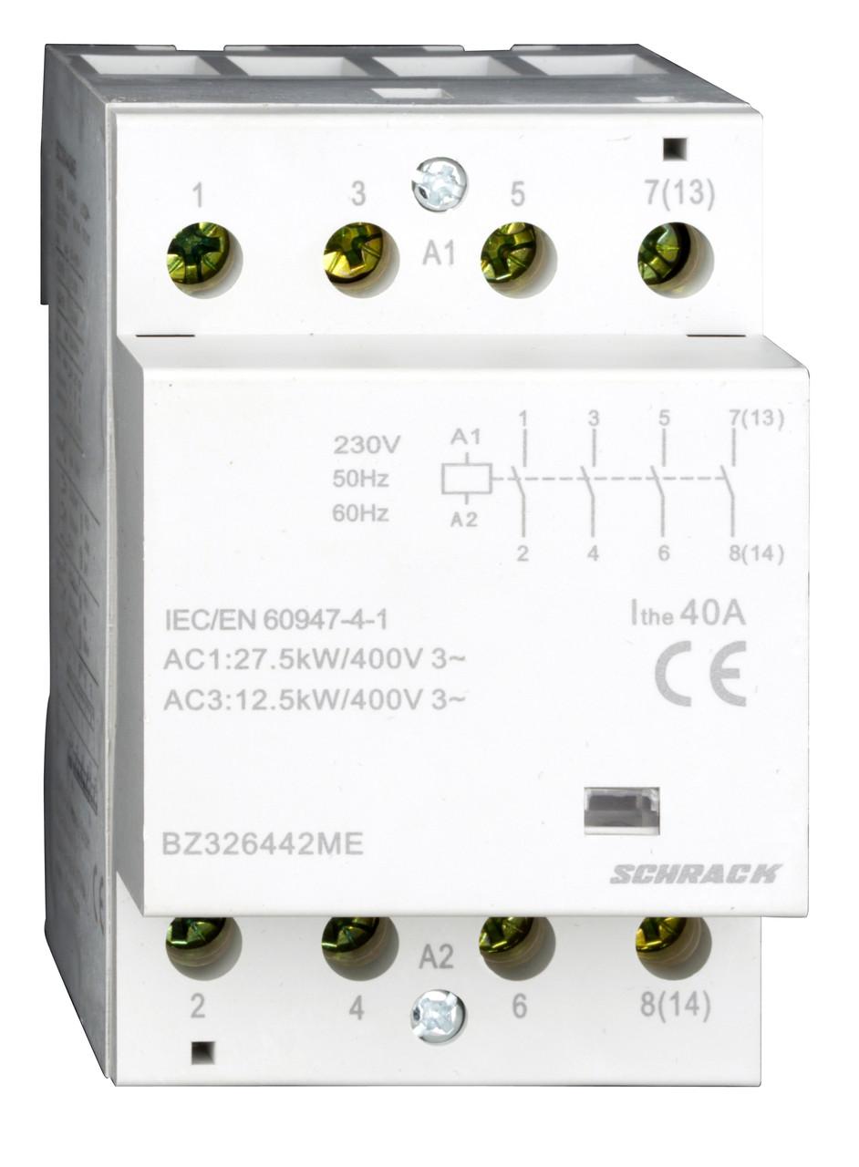Модульный контактор 40A, 4 НО, 230В переменного тока
