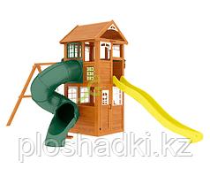 Клубный домик с трубой Luxe, канат, качельный модуль, трапеция с кольцами