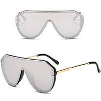 Солнцезащитные очки авиаторы UV-400 Fendi серебристые с зеркальным отражением