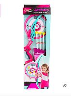 Лук со стрелами в колчане + тир, розовый