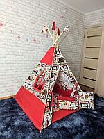 Детская палатка вигвам 4х гранный Красный с принтом