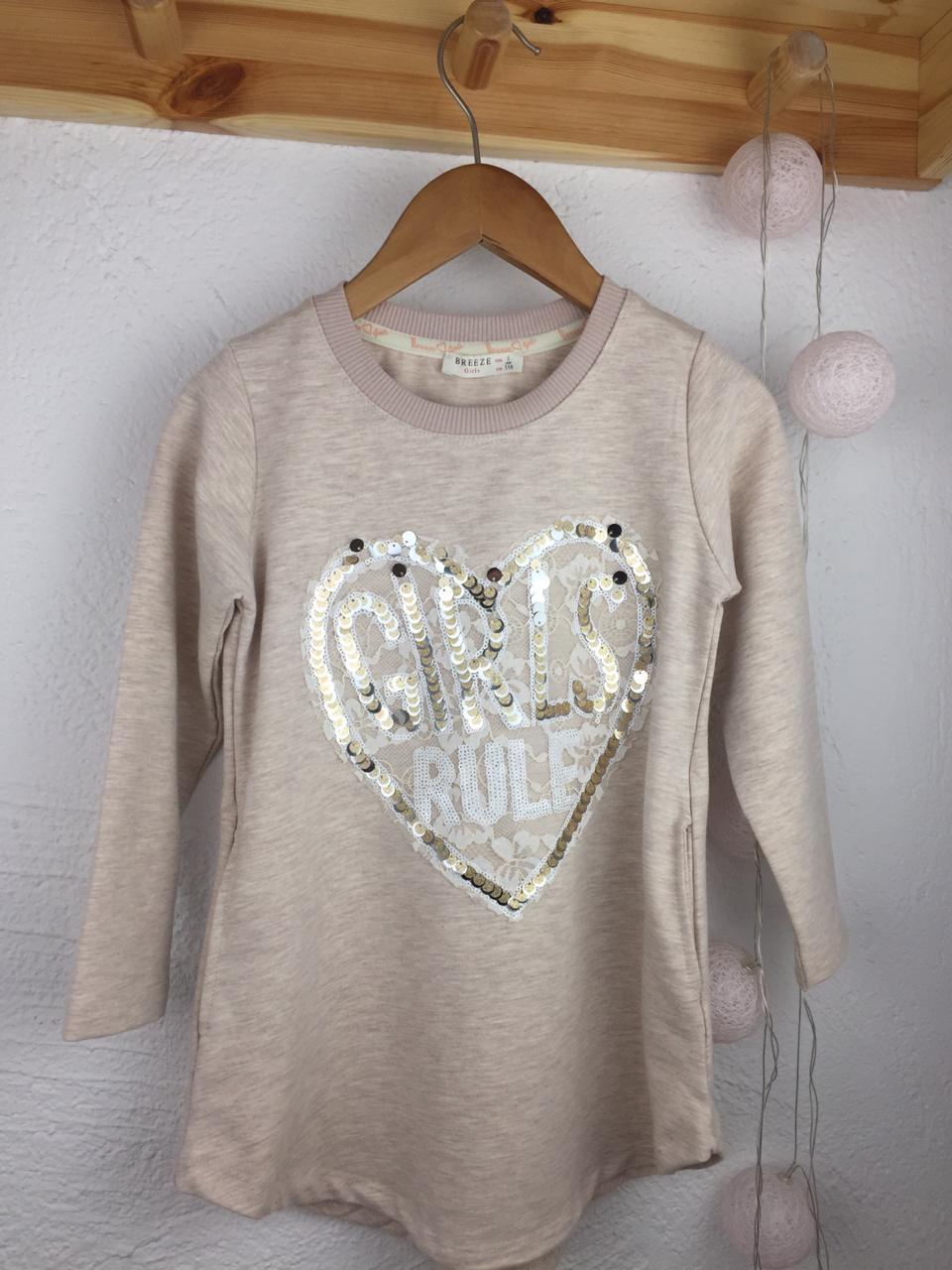 №16022 Платье-свитшот girls сердце пайетки 110-140 см 13815