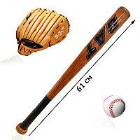 Бейсбольный набор бита с мячом и перчаткой ловушкой деревянная с намоткой на ручке Chuangxin Bat 61 см
