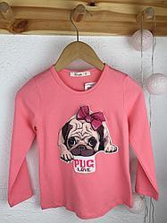 №16016 Лонгслив с мопсом  pug love 98-122 cm 0265