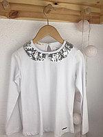 №16073 Белая блузка с ворот. и пайтеками 128-152 см 0562