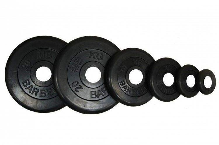 Диск Barbell Atlet черный обрезиненный 31 мм (2,5 кг)