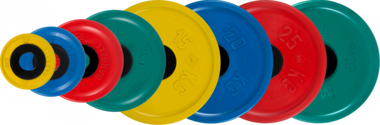 Диск олимпийский Barbell евро-классик цветной обрезиненный (1,25 кг)