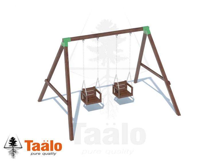 Качели деревянные с сидениями со спинкой на цепях Taalo