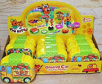 M-8820 Три кота вагончик-ресторан на колесах трасформер из 9шт в уп 16*13см, фото 1