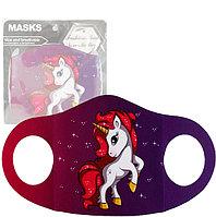 Многоразовая защитная маска детская от холода и пыли с принтом Единорога фиолетовая