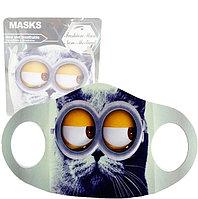 Многоразовая защитная маска детская от холода и пыли с принтом Котика в очках