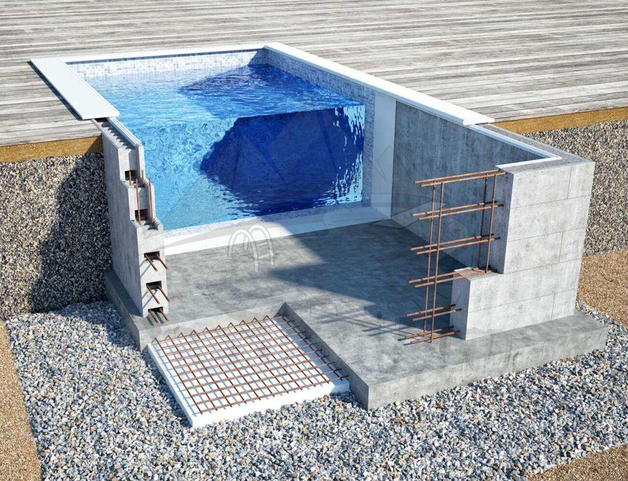 Блочный  пленочный бассейн 8х4х1.6м