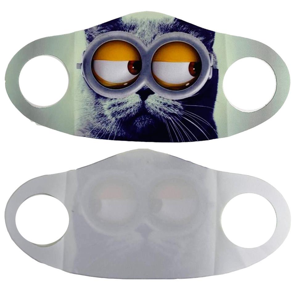 Многоразовая защитная маска детская от холода и пыли с принтом Котика в очках - фото 3