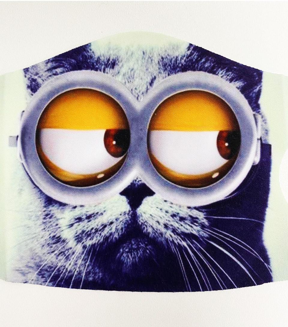 Многоразовая защитная маска детская от холода и пыли с принтом Котика в очках - фото 4