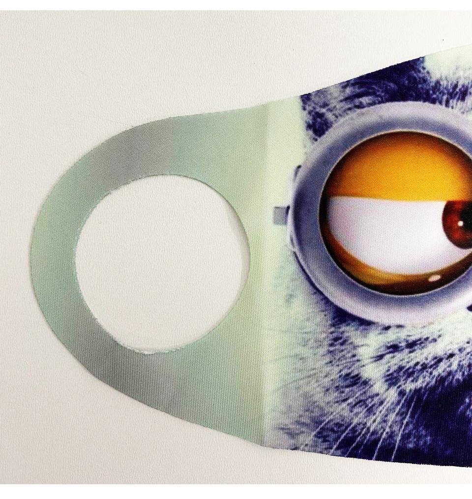 Многоразовая защитная маска детская от холода и пыли с принтом Котика в очках - фото 5