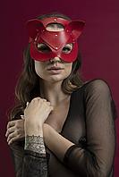 Маска кошечки Feral Feelings - Catwoman Mask, натуральная кожа, красная