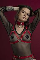 Портупея на грудь Feral Feelings - Harness Bra, лиф, натуральная кожа, цвет красный
