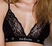 Эластичный топ с кружевом Passion PS001 TOP black, size L