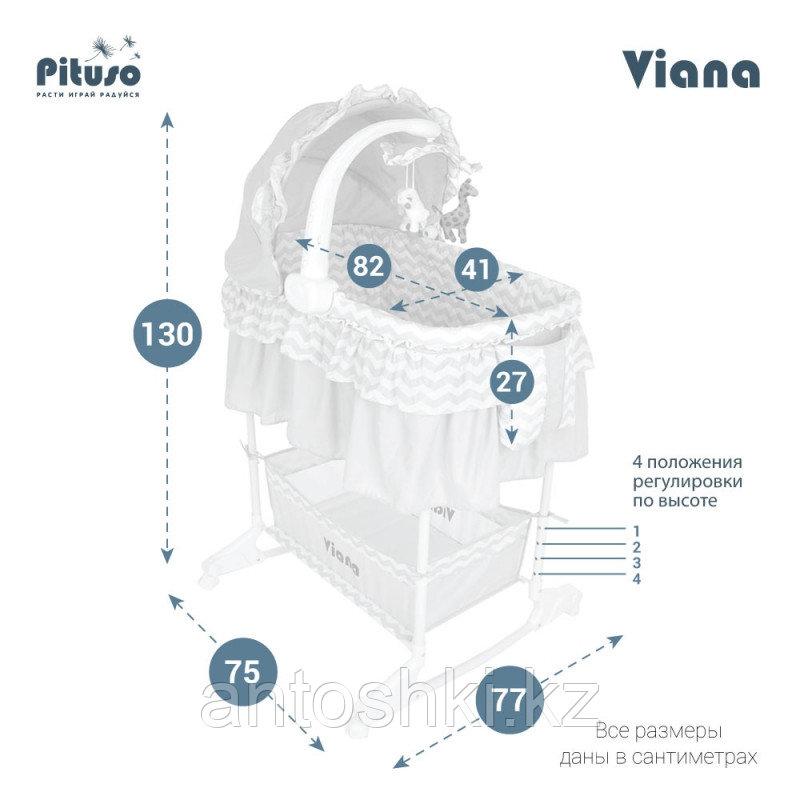 PITUSO Колыбель 3 в 1 Viana на колёсах Stars Grey/серый - фото 3