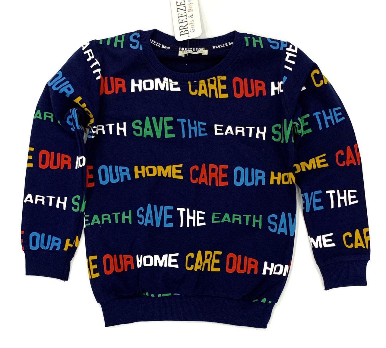 №16004 Свитшот Save the planet син цв.110-140 см 14042