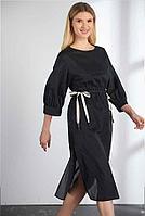 Легкое черное платье VLADINI длина мидаксе