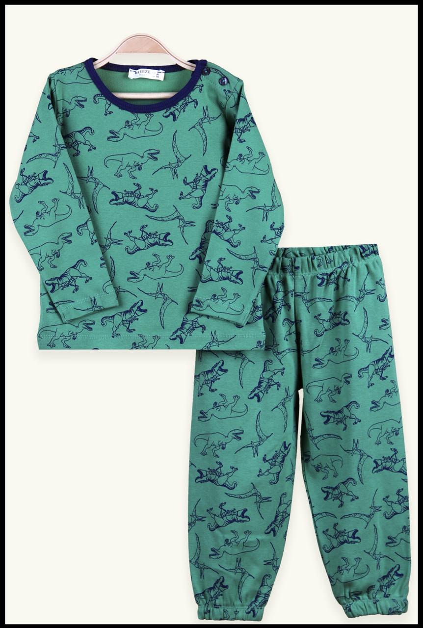 №16024 Пижама с дино зел. цв на мальчика 92-116 см 14753