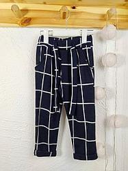 №16009 Мягкие брюки с завязками син.цв 3-8 л 2016