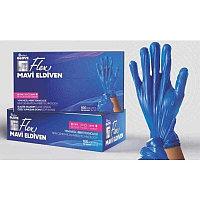 Перчатки L-XL 100шт голубые гибридные Flex