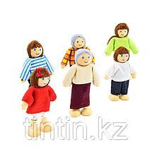 Набор деревянно-текстильных кукол Семья, 6 шт, фото 2