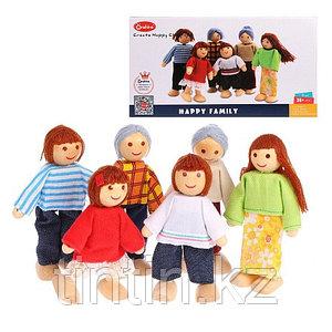 Набор деревянно-текстильных кукол Семья, 6 шт