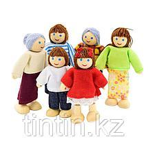 Набор деревянно-текстильных кукол Семья, 6 шт, фото 3
