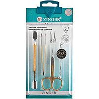 Набор маникюрных инструментов Zinger из 3 предметов (ножницы, пинцет, шабер)