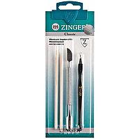 Набор маникюрных инструментов Zinger из 4 предметов (пушер, триммер, шабер, палочки)