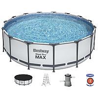 Бассейн каркасный bestway круглый 457 на 122 см (насос с фильтром 220V, лестница, тент,)